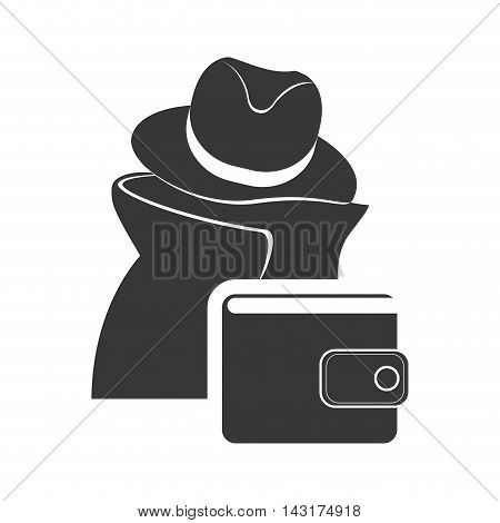 thief wallet money financial commerce icon. Flat and Isolated design. Vector illustration