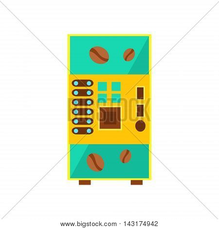 Coffee Drink Vending Machine Design In Primitive Bright Cartoon Flat Vector Style Isolated On White Background