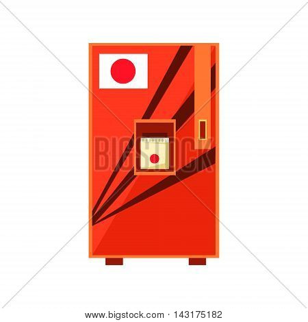 Japanese Food Vending Machine Design In Primitive Bright Cartoon Flat Vector Style Isolated On White Background