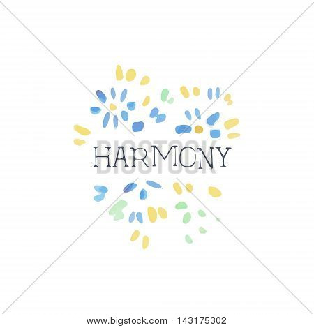 Harmony Natural Beauty Cosmetics Promo Sign Watercolor Stylized Hand Drawn Logo With Text On White Background