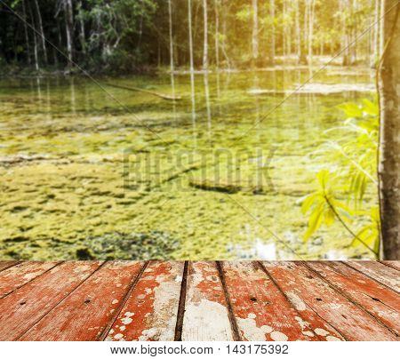 Wood floor top on blurred river with green tree in nature