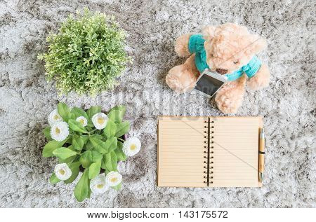 Closeup brown note book diary with line at page with brown pen with artificial plant and bear doll on gray carpet floor textured background