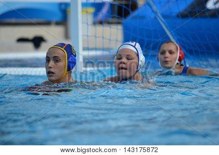 Budapest, Hungary - Jul 16, 2014. BLAS MARTINEZ Andrea (ESP, 9), BORISOVA Maria (RUS, 8) and KARNAUKH Anna (RUS, 13). The Waterpolo European Championship was held in Alfred Hajos Swimming Centre in 2014.