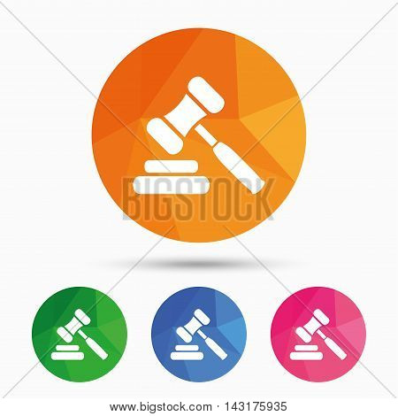 Auction hammer icon. Law judge gavel symbol. Triangular low poly button with flat icon. Vector