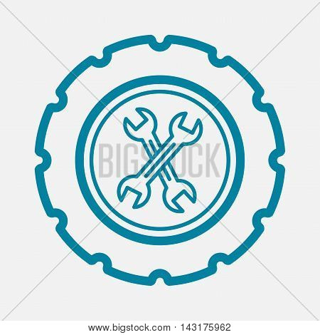 Tire repair and replacement with tools. Vector illustration icon