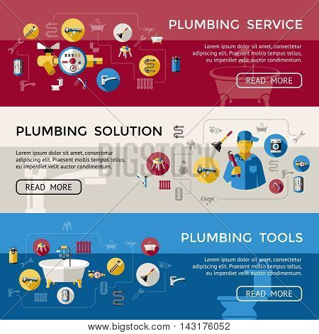 Three colored plumbing banner set with pluming service solution and tools descriptions vector illustration