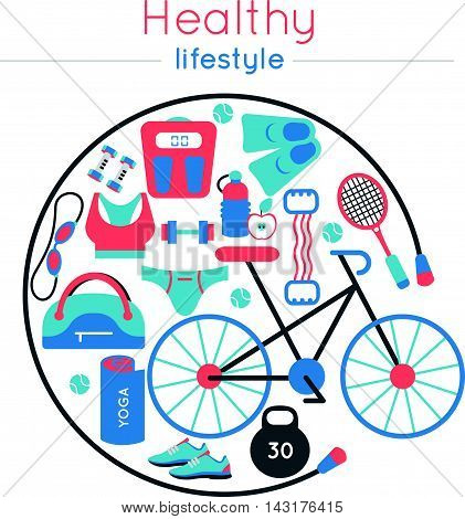 Colored fitness gym composition with isolated icon set combined in round using a skipping rope vector illustration
