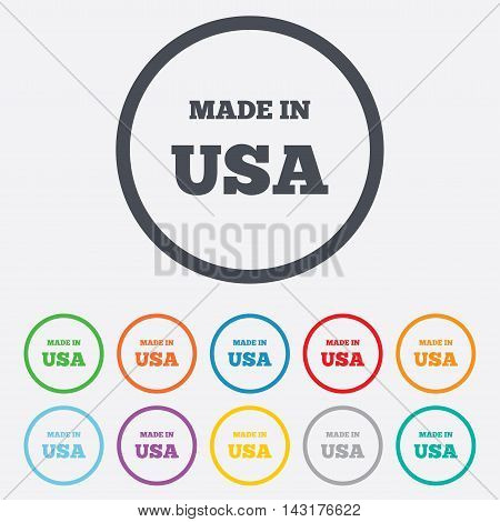 Made in the USA icon. Export production symbol. Product created in America sign. Round circle buttons with frame. Vector