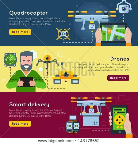 Three horizontal new technologies banner set on quadrocopter drones and smart delivery themes vector illustration