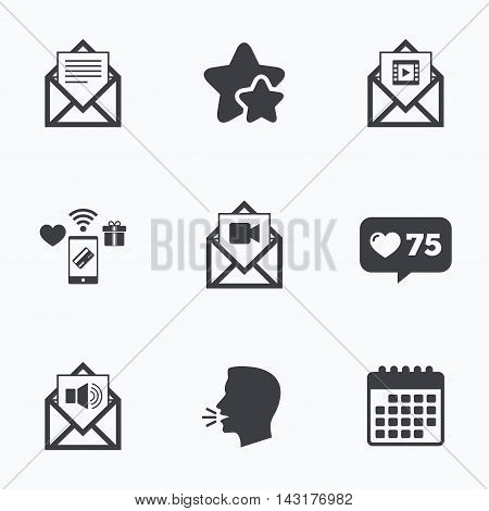 Mail envelope icons. Message document symbols. Video and Audio voice message signs. Flat talking head, calendar icons. Stars, like counter icons. Vector