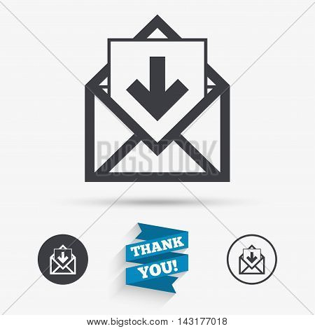 Mail icon. Envelope symbol. Inbox message sign. Mail navigation button. Flat icons. Buttons with icons. Thank you ribbon. Vector