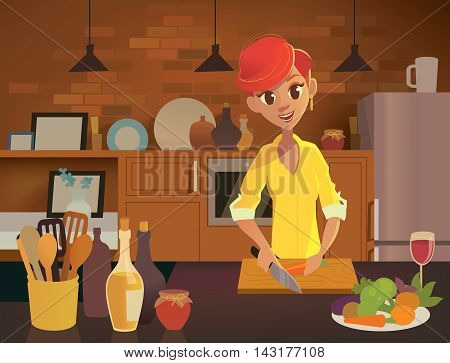 Young happy woman cooking in the kitchen. Healthy eating illustration. Vector illustration in modern flat style.