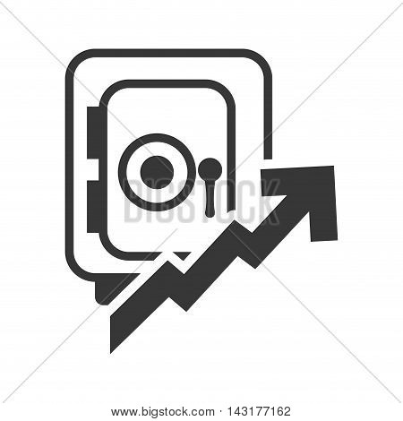 strongbox arrow money financial commerce icon. Flat and Isolated design. Vector illustration