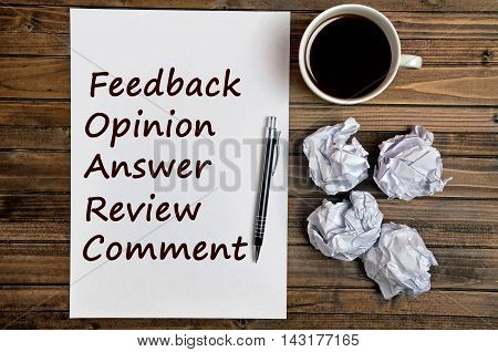 The word Feedback on white paper closeup