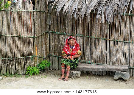 KUNA YALA PANAMA - NOVEMBER 10: Traditional Kuna women indians on a Tigre island on the San Blas archipelago in Panama in Central America in November 10 2012 Central America Panama Traditional Kuna women indians on a Tigre island on the San Blas archipela