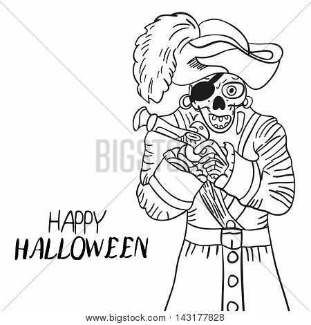 Skeleton Pirate. Halloween. Skull And Bones. Sketch. Hand Drawing. For Your Design