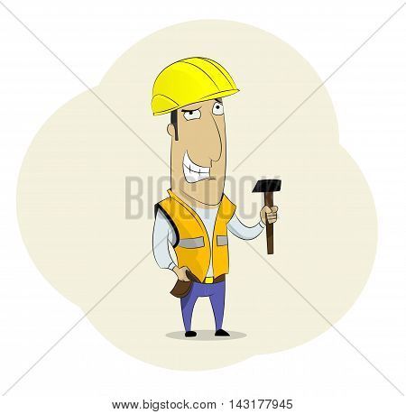 Fun cartoon builder in helmet and with hammer. Can be use in advertising presentations brochures for web design.