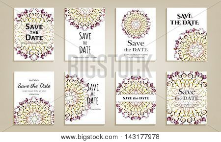 Set of cards save the date. Vintage template with violet circular pattern. Vector illustration for corporate identity individual cards form style.