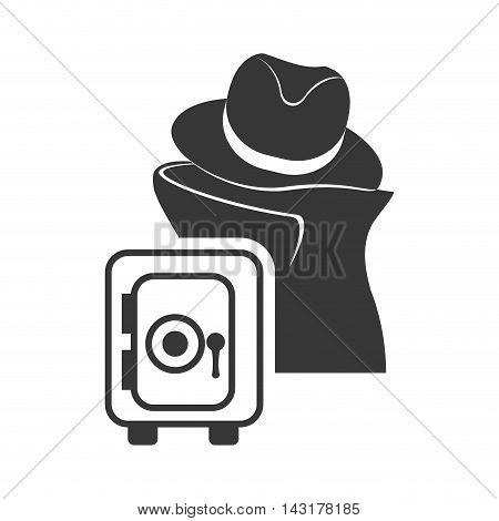 thief strongbox money financial commerce icon. Flat and Isolated design. Vector illustration