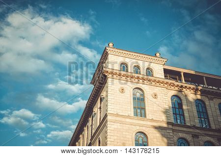Saint-Petersburg, Russia - August 12, 2016: Element of the beautiful architecture with blue sky on Ostrovsky Square in centre Petersburg near Nevsky prospect. Wonderful Russian view. Travel wallpaper, classic building background.