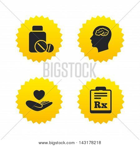 Medicine icons. Medical tablets bottle, head with brain, prescription Rx signs. Pharmacy or medicine symbol. Hand holds heart. Yellow stars labels with flat icons. Vector