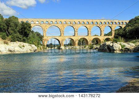 Roman aqueduct at Pont du Gard France UNESCO World Heritage Site