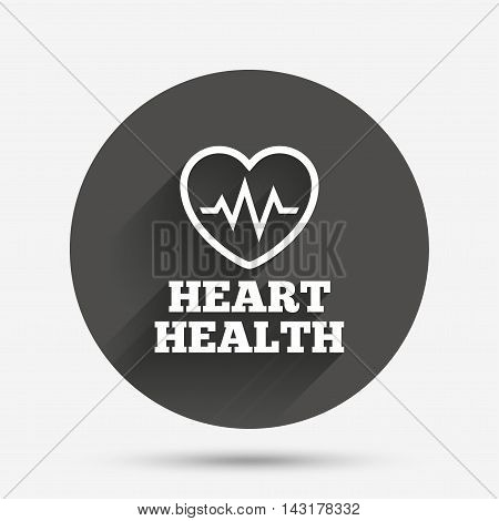 Heartbeat sign icon. Heart health cardiogram check symbol. Circle flat button with shadow. Vector