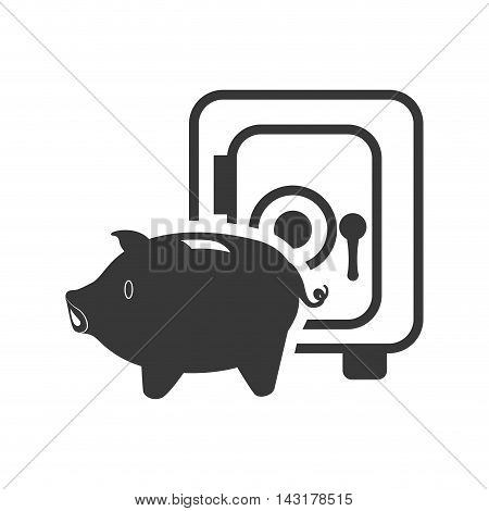 strongbox piggy money financial commerce icon. Flat and Isolated design. Vector illustration