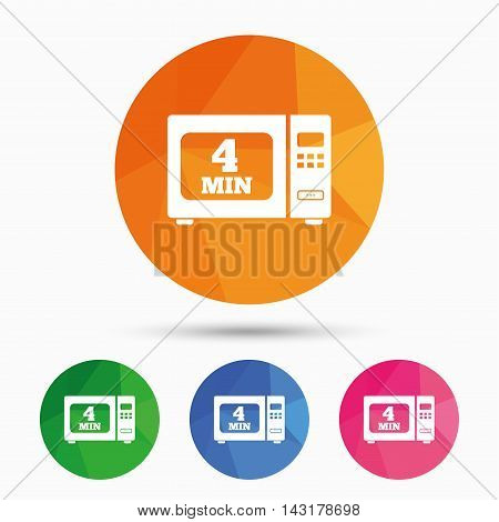 Cook in microwave oven sign icon. Heat 4 minutes. Kitchen electric stove symbol. Triangular low poly button with flat icon. Vector