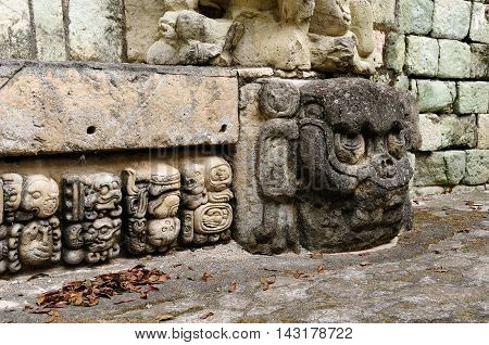 Honduras Mayan city ruins in Copan. The picture presents detail of decorating walls of the temple