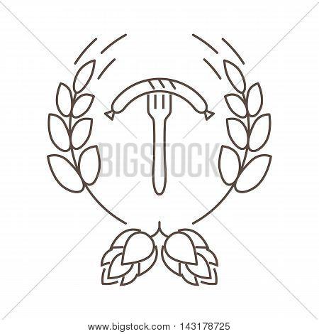 Logo or stamp Oktoberfest with the image of hops malt and sausage on a fork. Vector illustration.