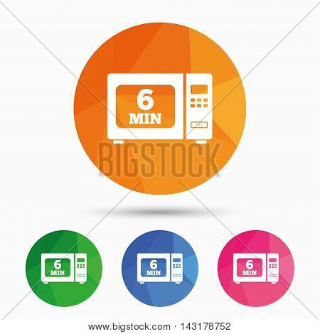 Cook in microwave oven sign icon. Heat 6 minutes. Kitchen electric stove symbol. Triangular low poly button with flat icon. Vector