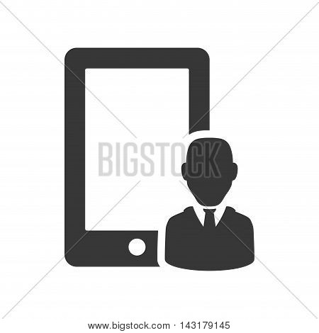businessman smartphone silhouette necktie icon. Flat and Isolated design. Vector illustration