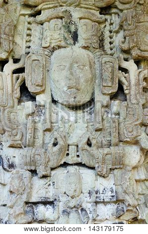 Central America Honduras Mayan city ruins in Copan. The picture presents Stella by stairs