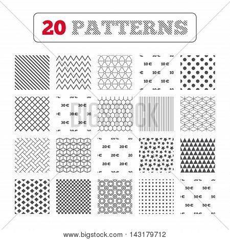 Ornament patterns, diagonal stripes and stars. Money in Euro icons. 10, 20, 30 and 50 EUR symbols. Money signs Geometric textures. Vector