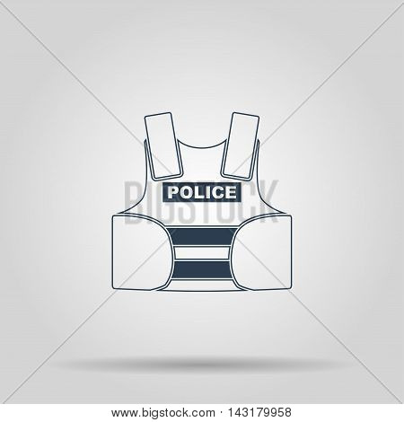 bullet proof vest. body armor suit. protect - vector illustration