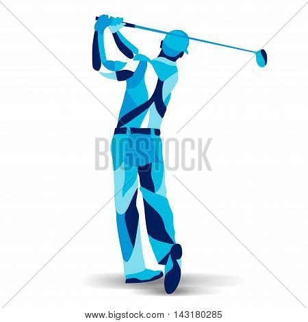 Trendy stylized illustration movement, golf player, golfer, line vector silhouette of golf player