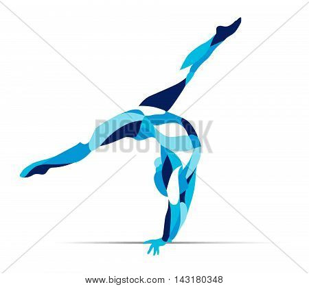 Trendy stylized illustration movement, curly gymnastics, acrobatics, line vector silhouette of curly gymnastics