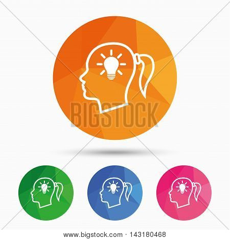 Head with lamp bulb sign icon. Female woman human head idea with pigtail symbol. Triangular low poly button with flat icon. Vector