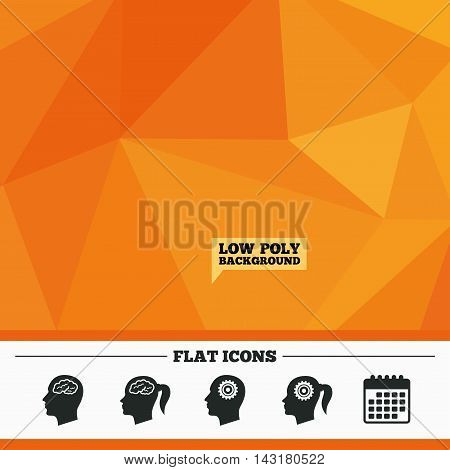 Triangular low poly orange background. Head with brain icon. Male and female human think symbols. Cogwheel gears signs. Woman with pigtail. Calendar flat icon. Vector