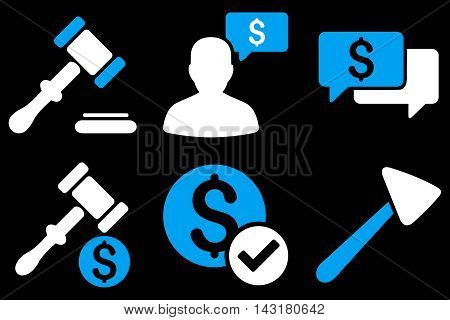Auction vector icons. Pictogram style is bicolor blue and white flat icons with rounded angles on a black background.