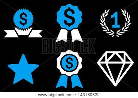 Award vector icons. Pictogram style is bicolor blue and white flat icons with rounded angles on a black background.