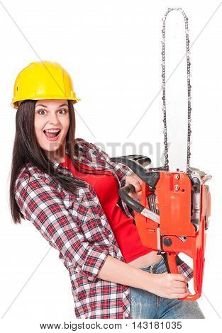 Crazy young woman with gasoline-powered chainsaw isolated on white background