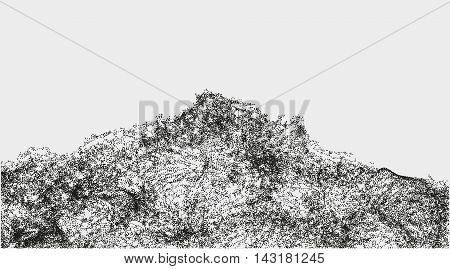 Abstract wavy structure made by shuffled round particles. Swarm of dots. Rippled random halftone illustration for backdrop. Element of design for a poster cover business card invitation or web.