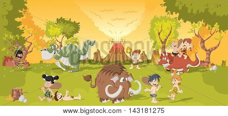 Group of cartoon cavemen on forest with volcano and funny cartoon dinosaurs. Stone age children.