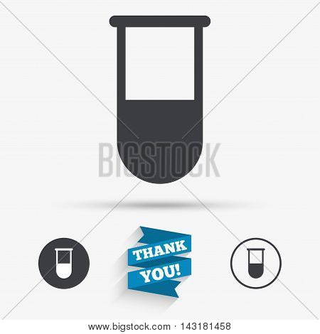 Medical test tube sign icon. Laboratory equipment symbol. Flat icons. Buttons with icons. Thank you ribbon. Vector