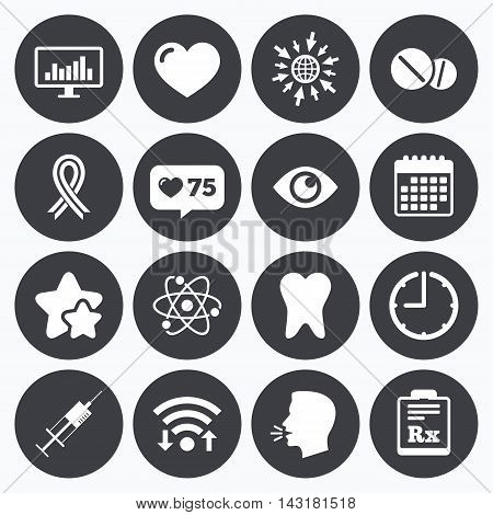 Calendar, wifi and clock symbols. Like counter, stars symbols. Medicine, medical health and diagnosis icons. Syringe injection, heart and pills signs. Tooth, awareness ribbon symbols. Talking head, go to web symbols. Vector