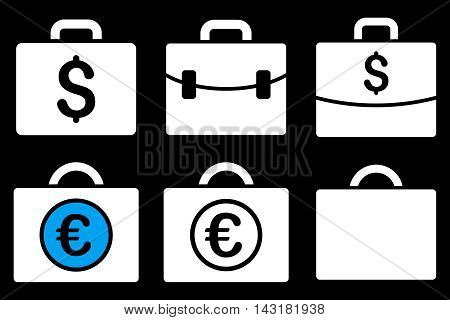 Business Case vector icons. Pictogram style is bicolor blue and white flat icons with rounded angles on a black background.
