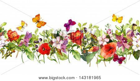 Floral horizontal border. Watercolor meadow flowers, grass, herbs and, butterflies - seamless frame