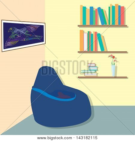 The interior of the living area with bookshelves and a bag chair. Vector illustration